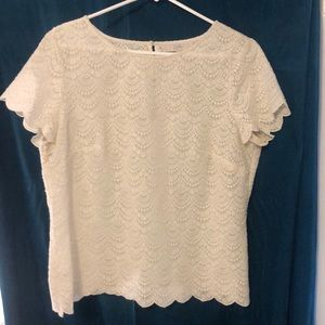 Ann Taylor ivory embroidered scalloped edge blouse